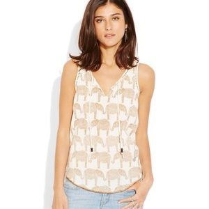 LUCKY BRAND • EMBROIDERED ELEPHANT OPEN WEAVE TANK